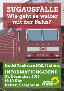 Info-Abend zum Bahn-Chaos mit MdL Daniel Renkonen