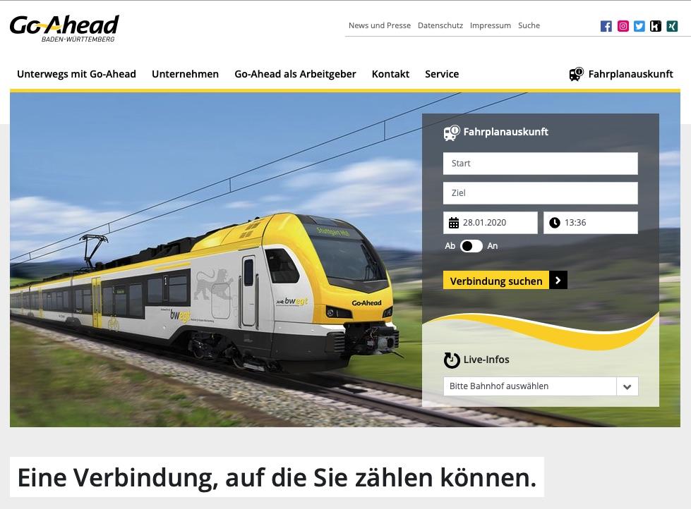 Go-Ahead-Webseite